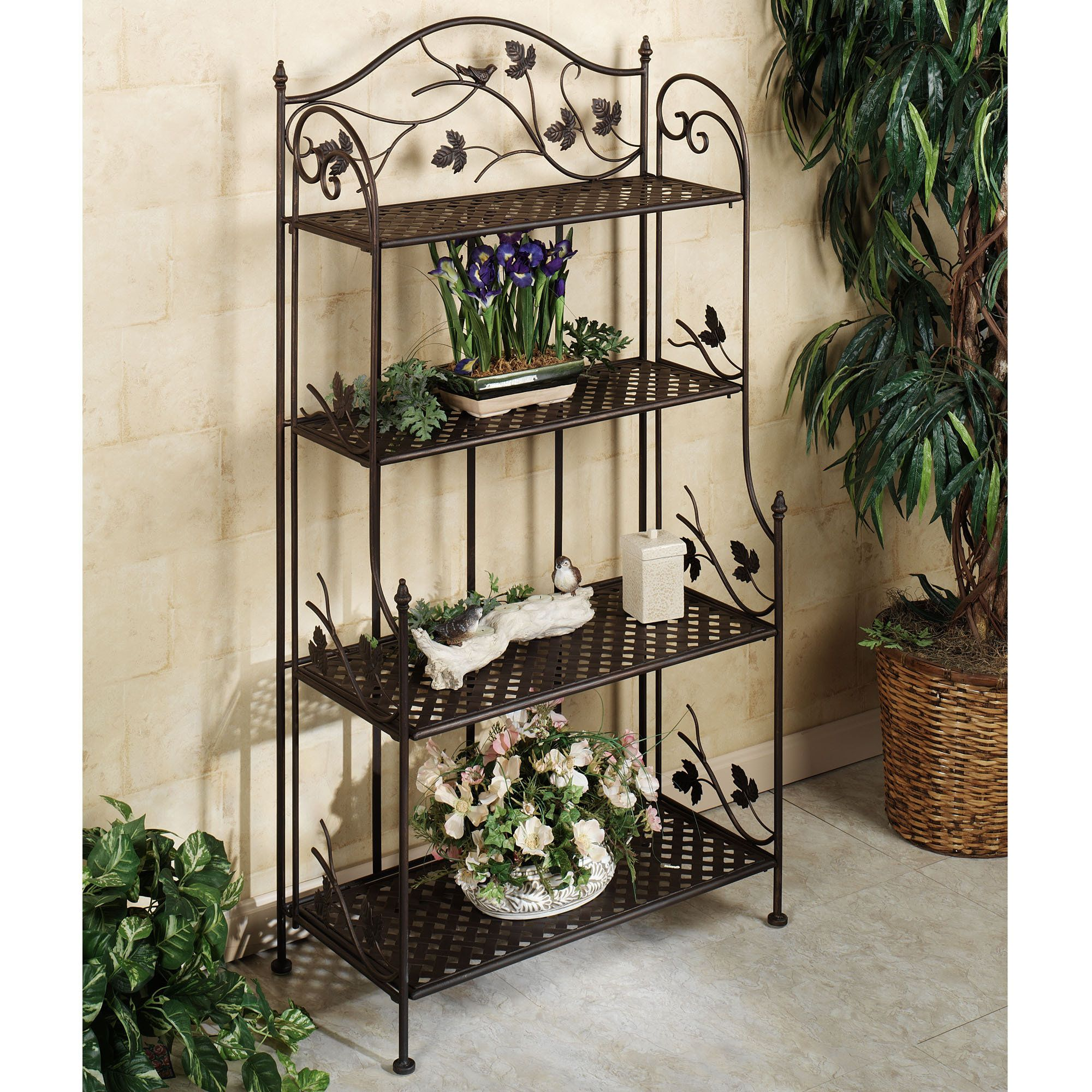 Green Metal Plant Stand Songbird Symphony Indoor Outdoor Etagere Indoor Outdoor