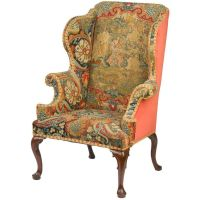 Wingback chair. French. Tapestry upholstered furniture ...