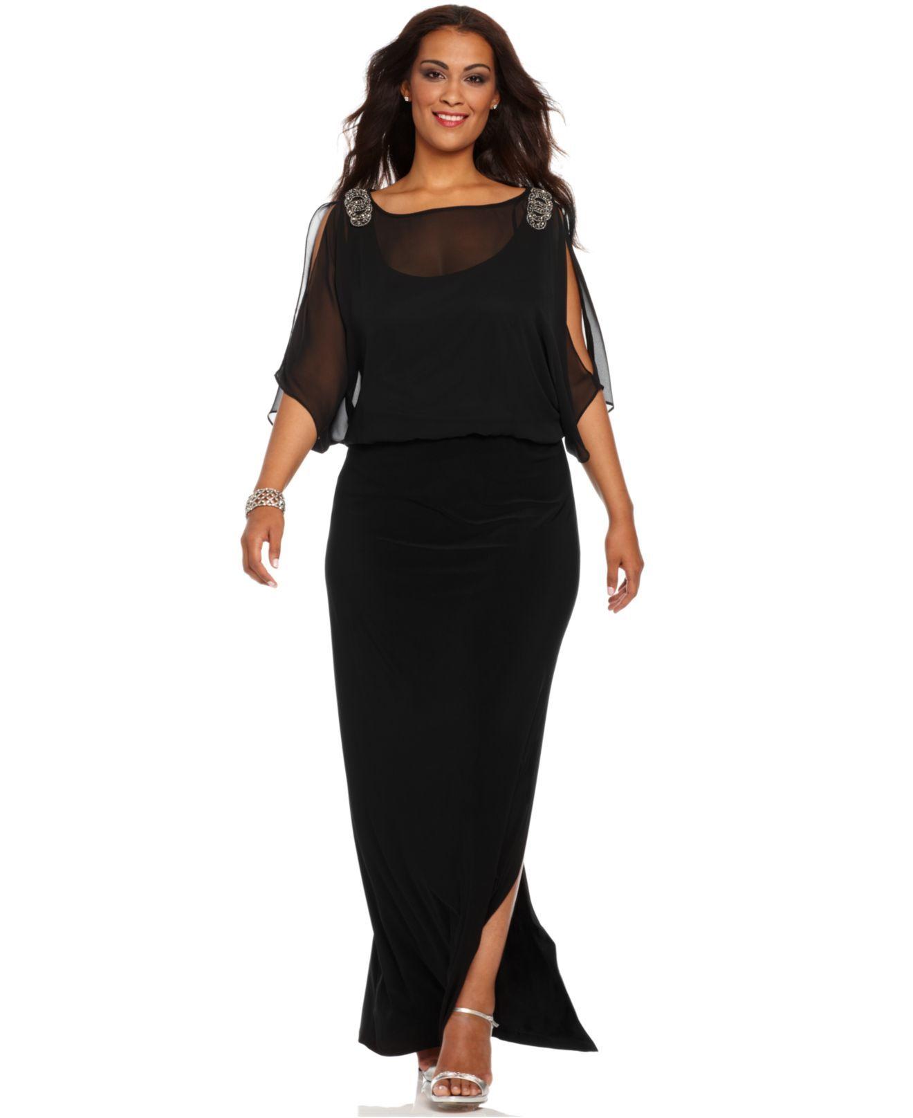 Xscape Plus Size Dress, Short Split Sleeve Beaded Evening