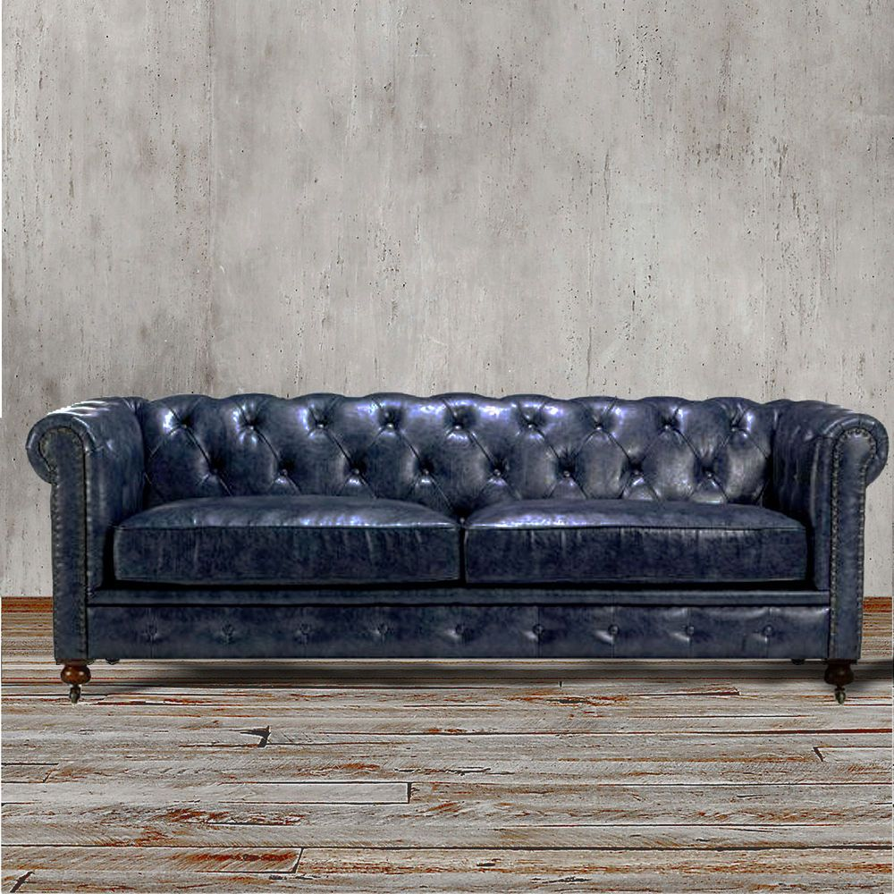 Chesterfield Sofa Navy Blue Leather Chesterfield Sofa Deep Blue Leather