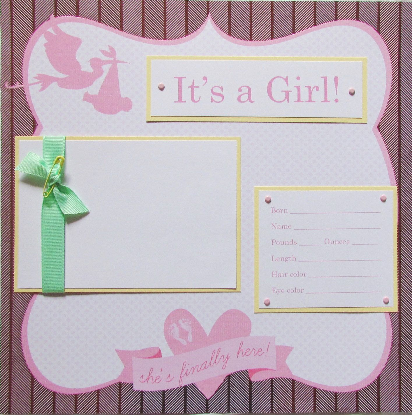 20 baby girl scrapbook pages for 12x12 first year album preppy and fun in pink yellow and green