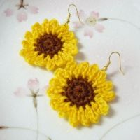 A Pair of Crochet Sunflower Earrings by cinnamonyarn on ...