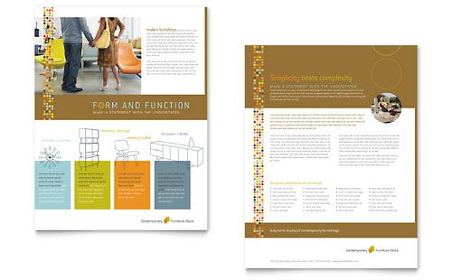 Furniture Store - Datasheet Template Design Sample Sell Sheet - sample sell sheet