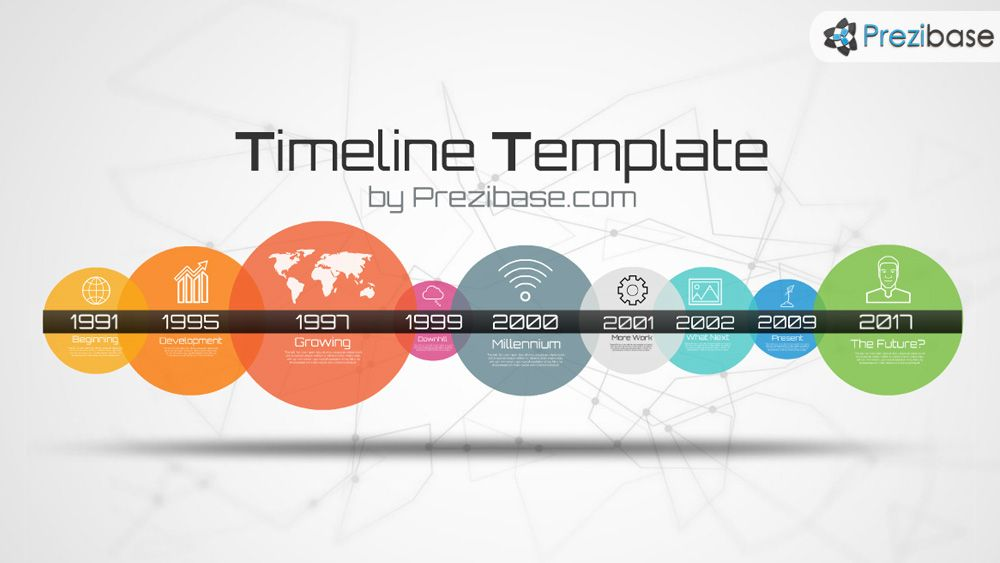 Simple colorful timeline template with circles prezi template - career timeline template