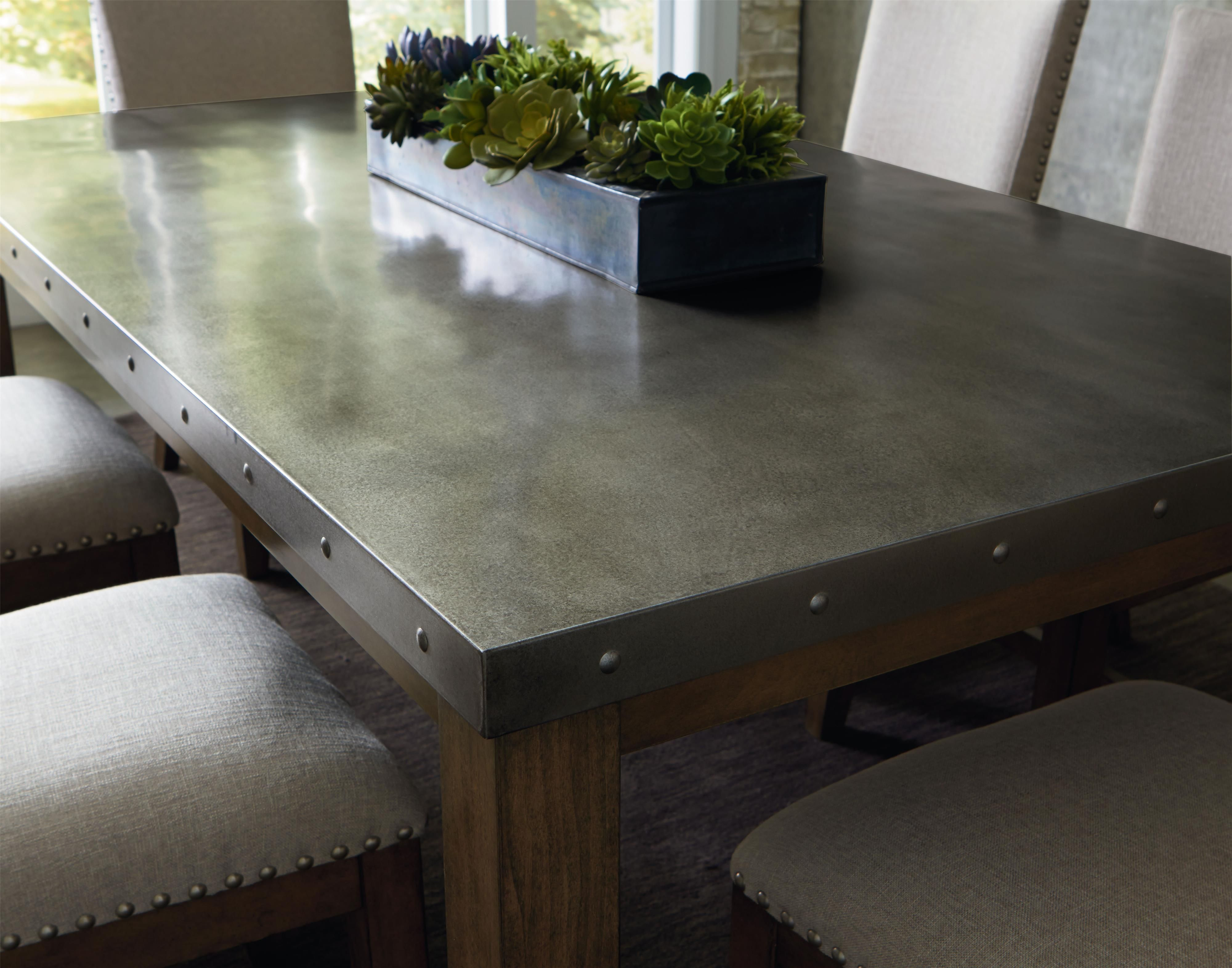 Riverton stainless steel top dining room table set by
