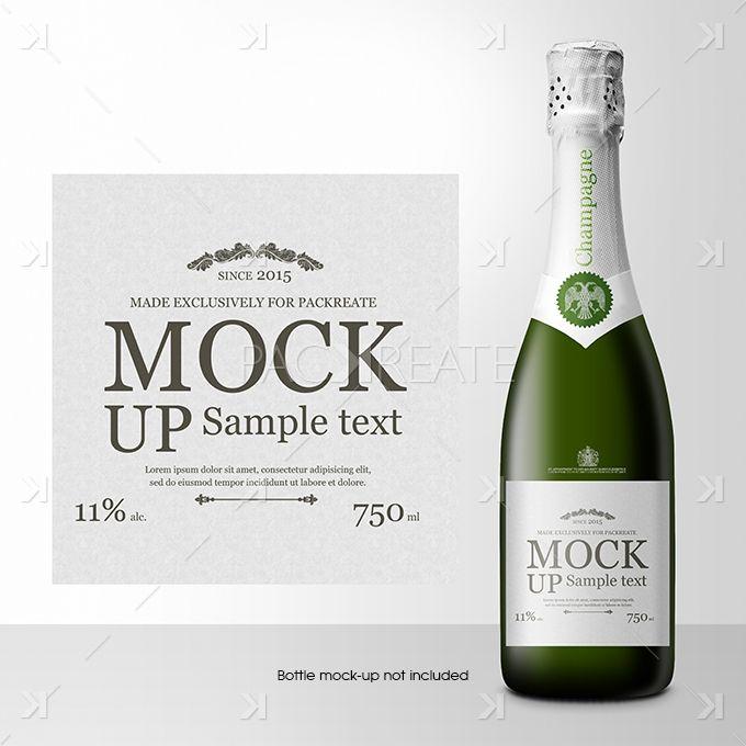 Champagne Bottle Label PSD Template champan Pinterest - free wine bottle label templates