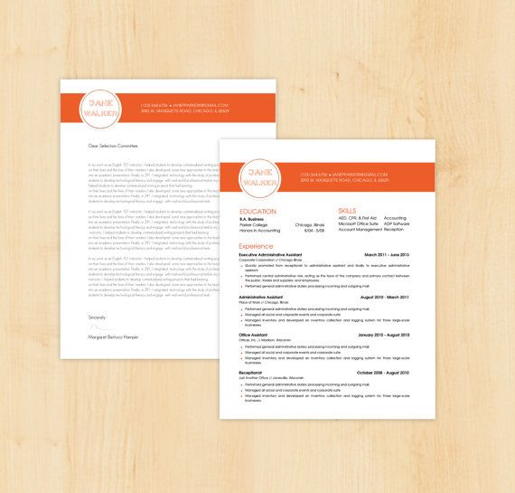 Resume Template \/ Cover Letter Template - The Jane Walker Resume - template for resume cover letter