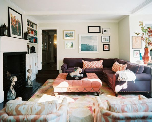 Bohemian Living Room Photos Bohemian living rooms, Sectional - living room ottoman