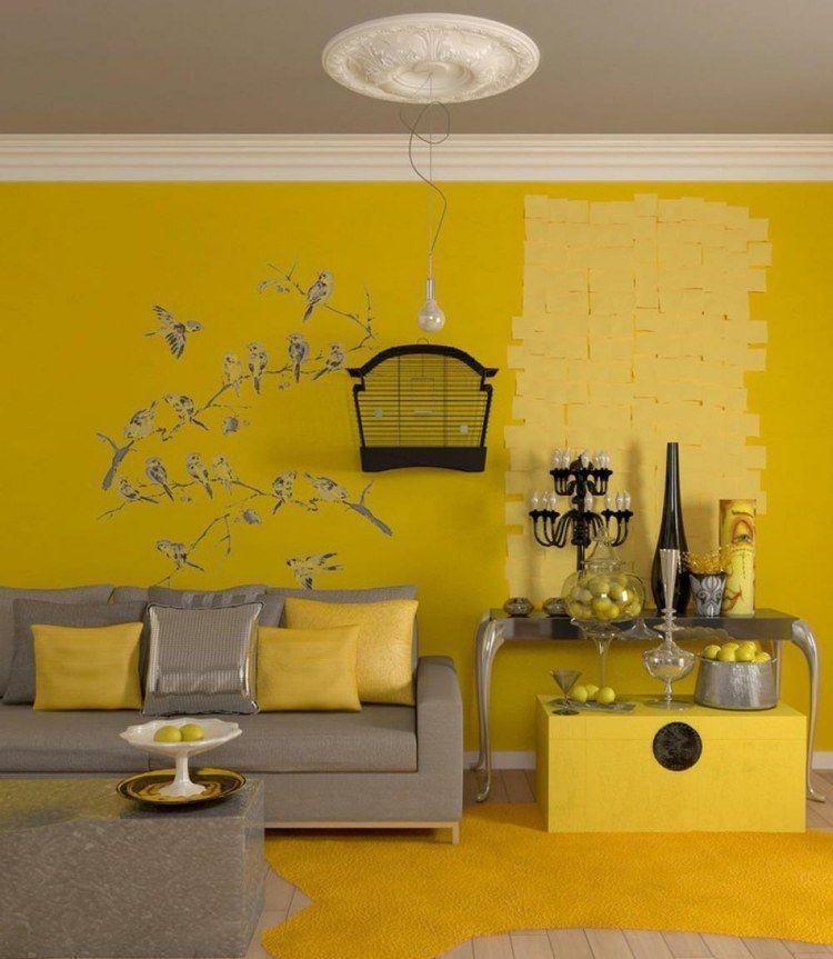 Die gelbe Farbe für die Wand dient als Hintergrund für die grauen - farben fur wande