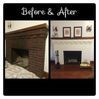 Before and After picture of painted white brick fireplace ...