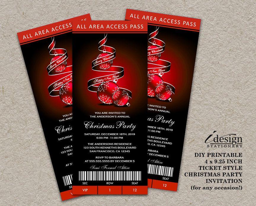 Holiday Party Ticket Invitations Elegant Printable Ticket Style - printable ticket invitations