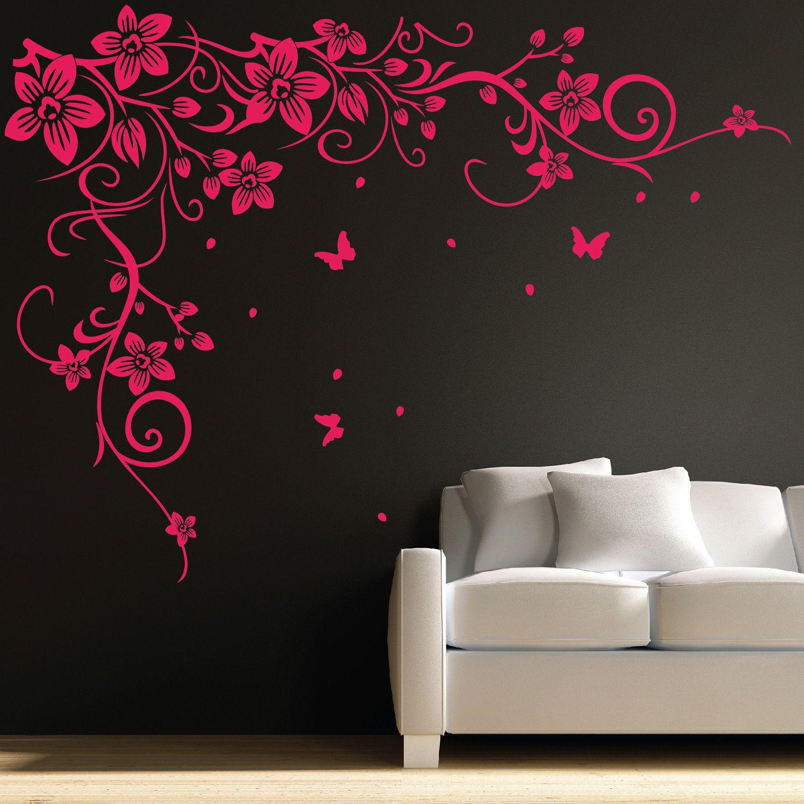 Butterfly Vine Flower Wall Art Stickers Decals 031 Buy