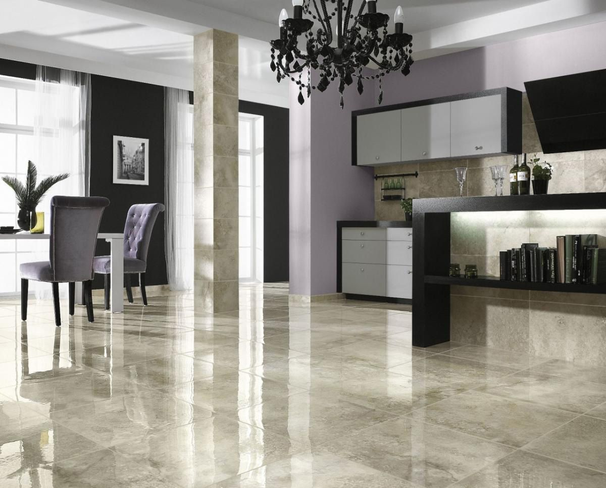 kitchen flooring ideas Glossy Marble Ceramic Tile Floor Ideas For Modern Living Room Use J K to