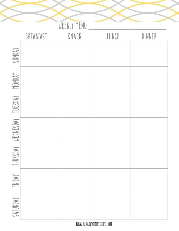 Free Printable Weekly Meal Planning Templates (and a weeku0027s worth - weekly menu