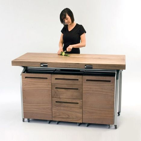 Phil Crooku0027s workstation nests above your stovetop and sink before - kitchen table designs