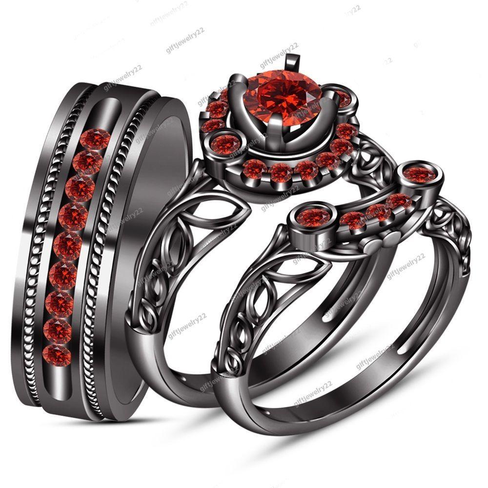 garnet wedding rings 9k Black Gold His Her Mens Women s Red Garnet Wedding Ring Bands Trio Bridal Set
