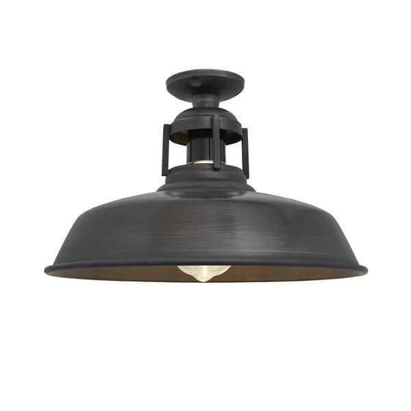 Vintage Industrial Barn Slotted Flush Mount Ceiling Light