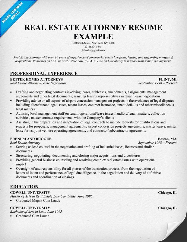 Real Estate Attorney Resume Example Resume Samples Across All - real estate resume examples