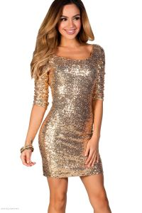 """""""Sadie"""" Gold Fitted Sequin Party Dress with Sleeves ..."""