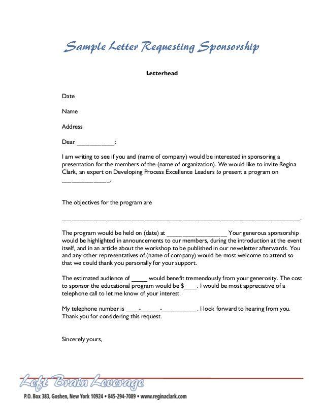 Letter For Sponsorship Sample sample letter requesting