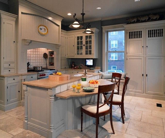 Kitchen Island With Table Height Seating Island At Standard Counter Height, Eating Section Dropped