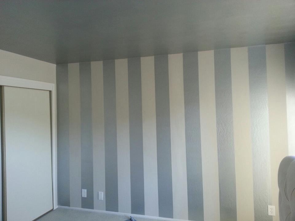 DIY Interior Painting: Vertical Stripes Make Ceilings Look