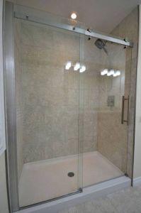 shower pan with sliding glass door in bathroom | Bathroom ...