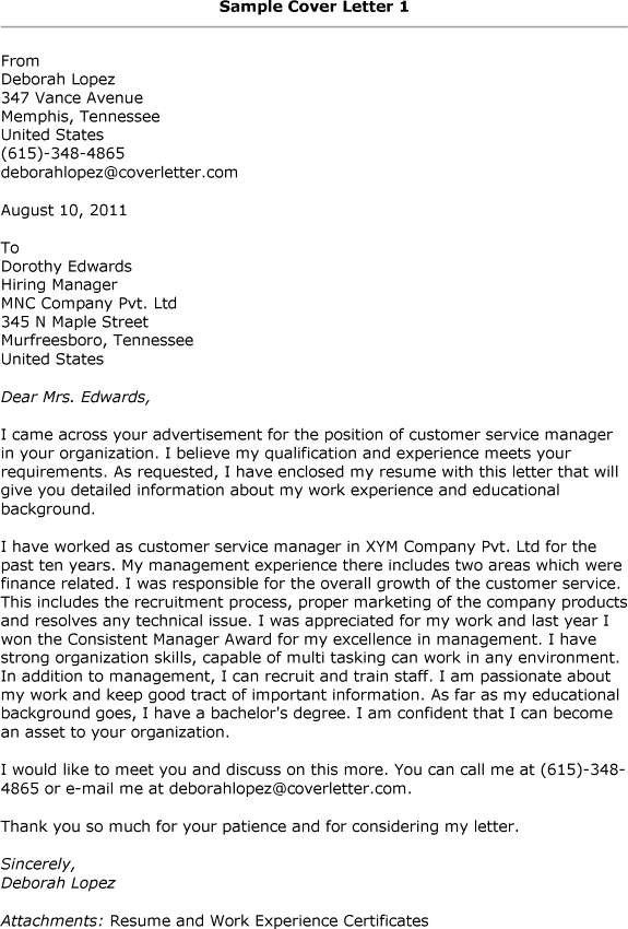 Cover Letter Examples Customer Service Manager interesting - cover letter example for customer service