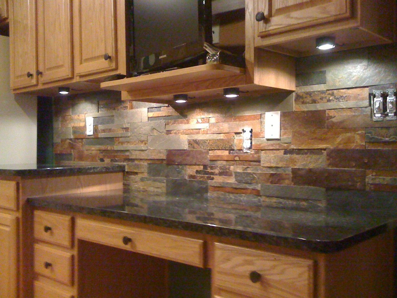 dark granite kitchen counters and backsplash ideas for backsplash with black granite countertops Google Search