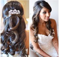 Half up half down hairstyle curls, bridal, hair comb ...