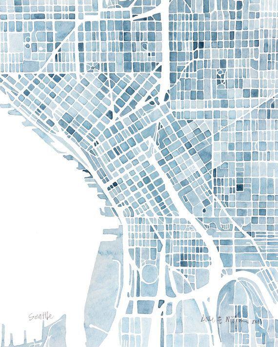 (via 10x8 Seattle Washington Blueprint City map watercolor