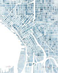 (via 10x8 Seattle Washington Blueprint City map watercolor ...