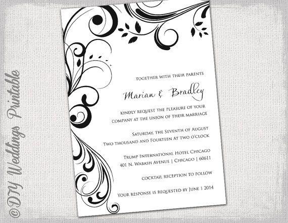 Wedding invitation templates black and white  - microsoft templates invitations