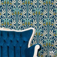 Art Nouveau Feather Damask Removable Wallpaper | Wall ...