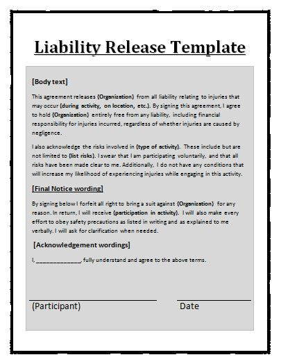 Liability Waiver Template Free Word Templates - liability - free release of liability form