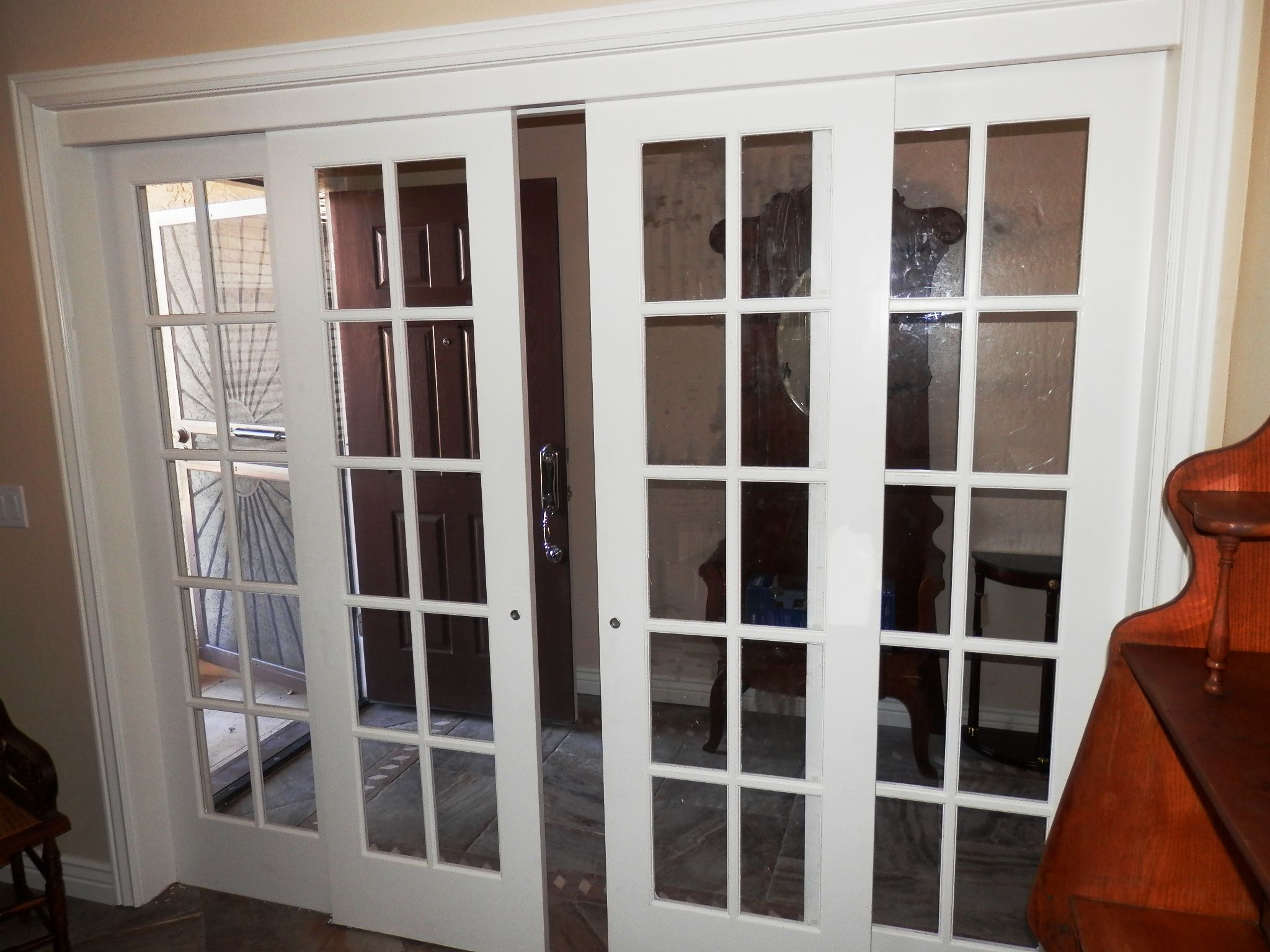 Interior sliding french doors with two matching sidelights this a custom design and custom installation