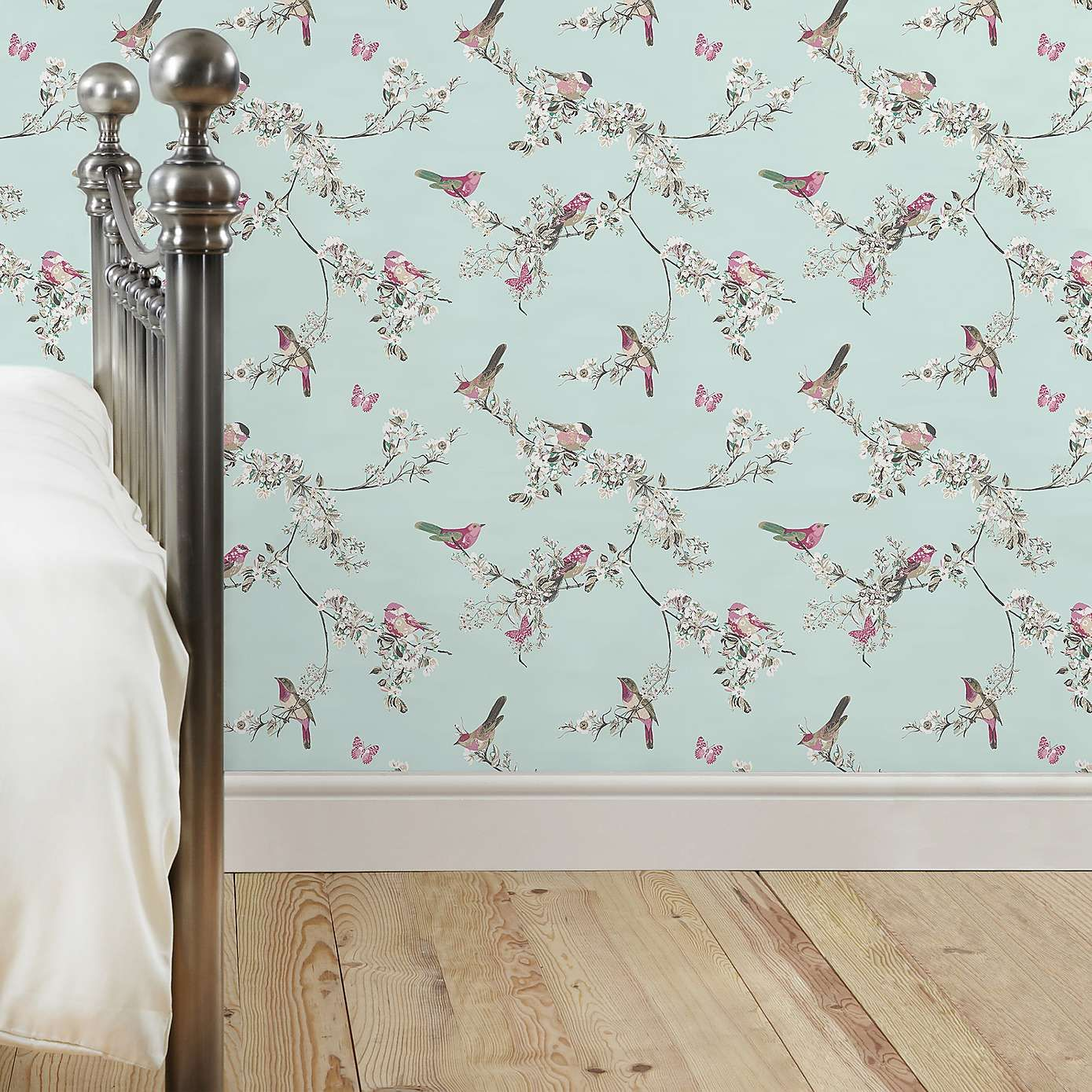 Duck Egg Wallpaper Bedroom Ideas Beautiful Birds Duck Egg Wallpaper | Dunelm | Flower