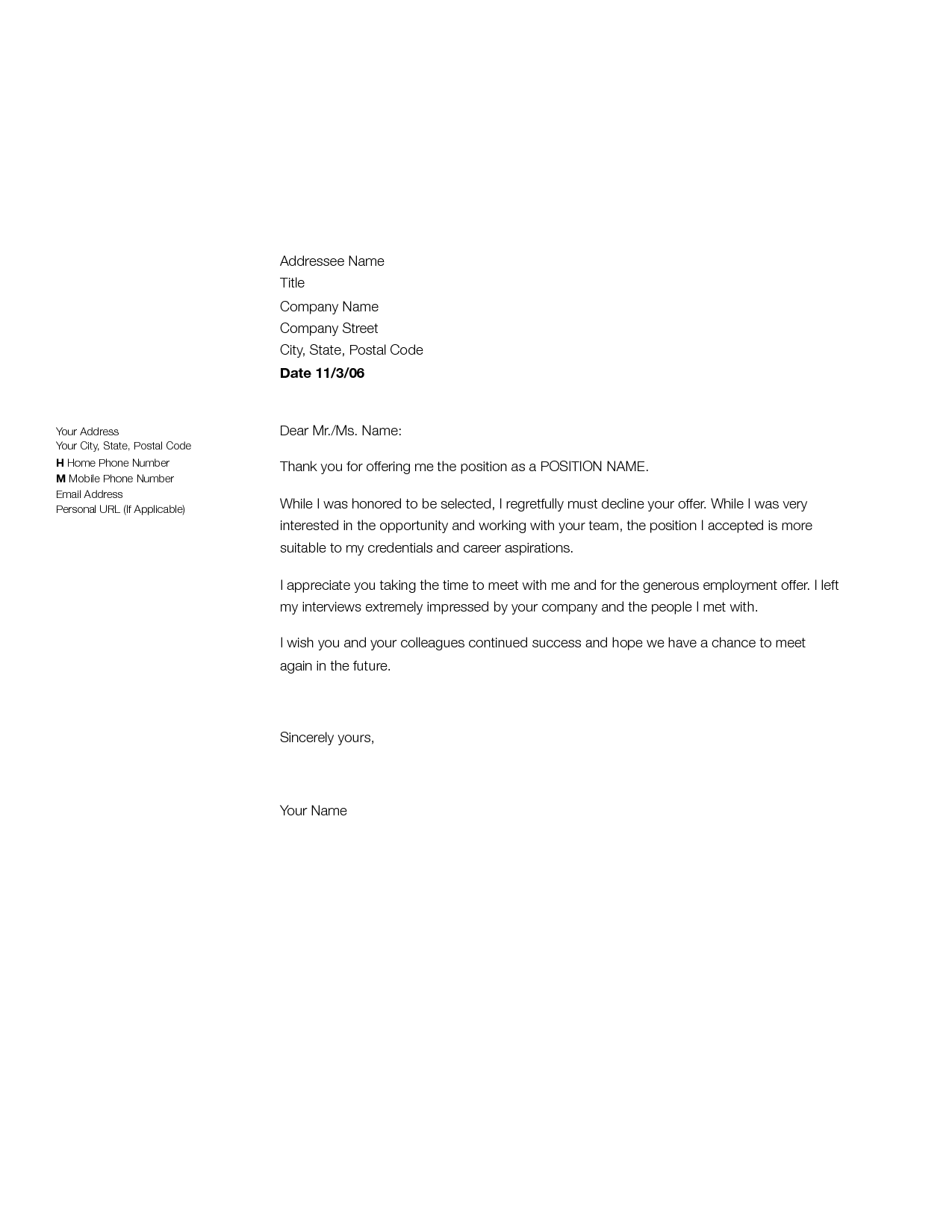Job Offer Rejection Thank You Letter Sample Declining ...