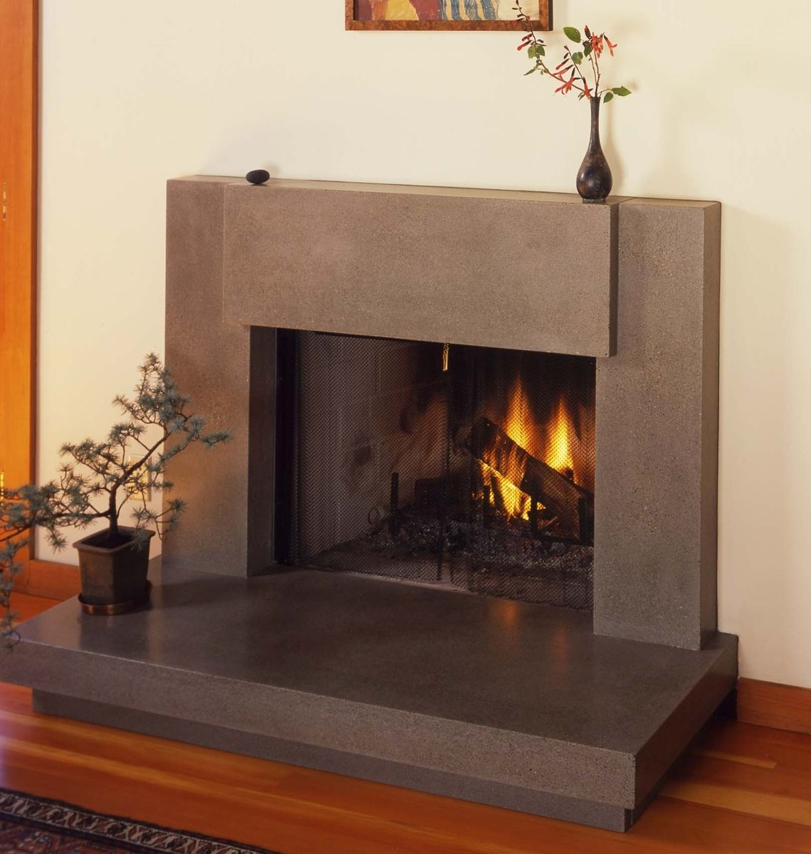 Betonnen Haard Contemporary Polished Concrete Fireplace Surround