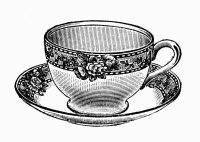 Tea Time - Free Vintage Illustrations in Black and White ...