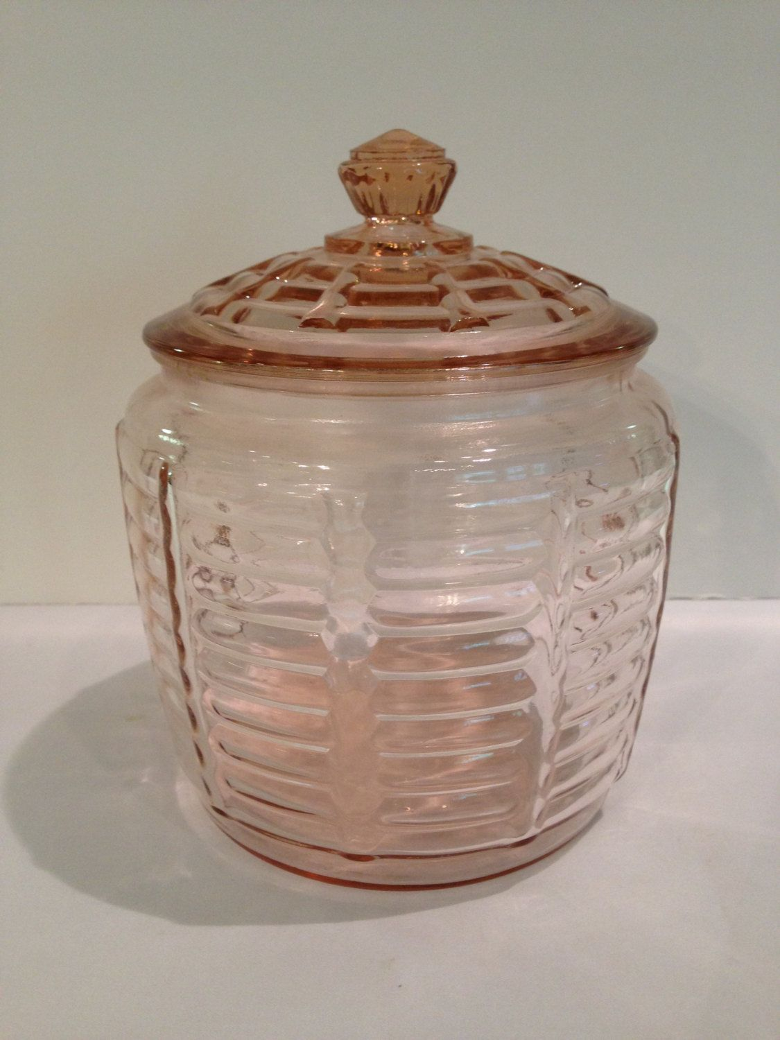 Nice Cookie Jars Anchor Hocking Pink Depression Glass Biscuit Cookie Jar
