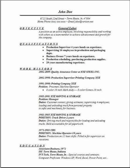 General Resume Examples General Labor Resumeexamples,samples - resume examples for objective