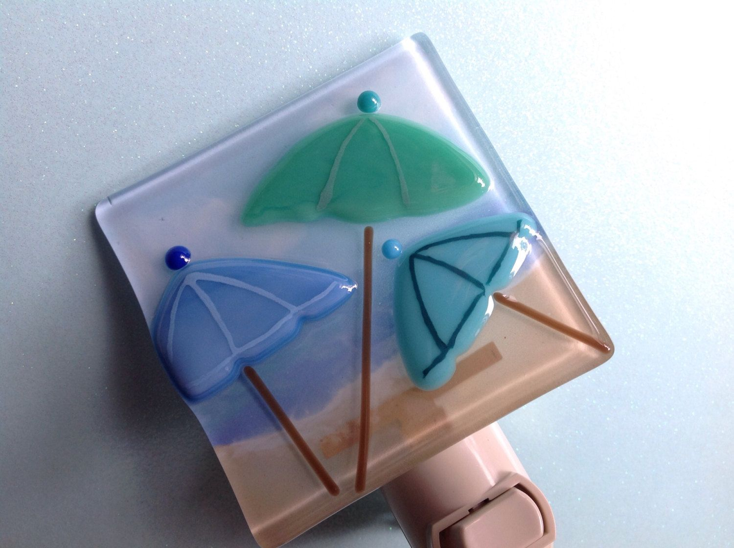 Glass Night Lights Fused Glass Beach Umbrella Night Light By Laglassea On
