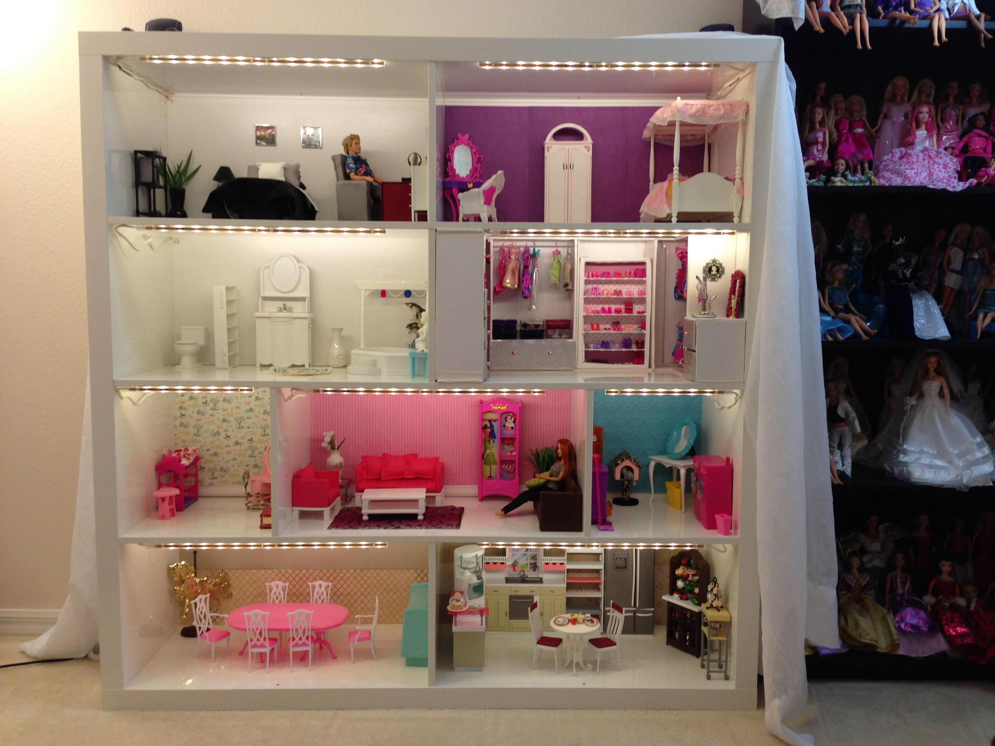 Pinterest Girls Kids Rooms With Wood Wallpaper Barbie House From Expedit Shelves Now With Lighting Also