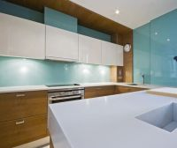 Kitchen, Light Blue Acrylic Sheet Installation For ...
