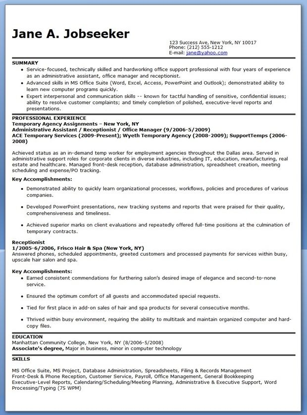 Temporary Administrative Assistant Resume New job Pinterest - admin assistant resume