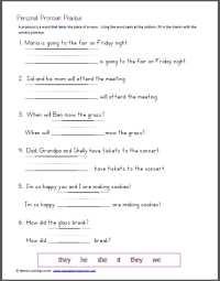 2nd Grade  Reflexive Pronoun Worksheets For 2nd Grade ...