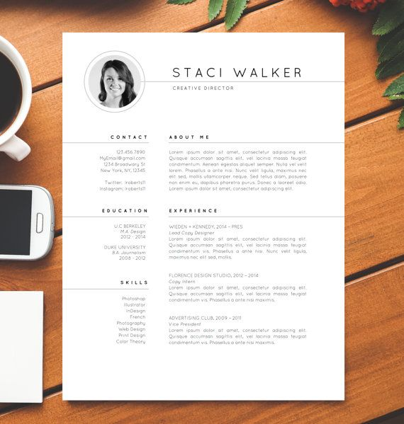 Modern Resume Template 3pk, CV Template + Cover Letter for MS Word - professional cover letters
