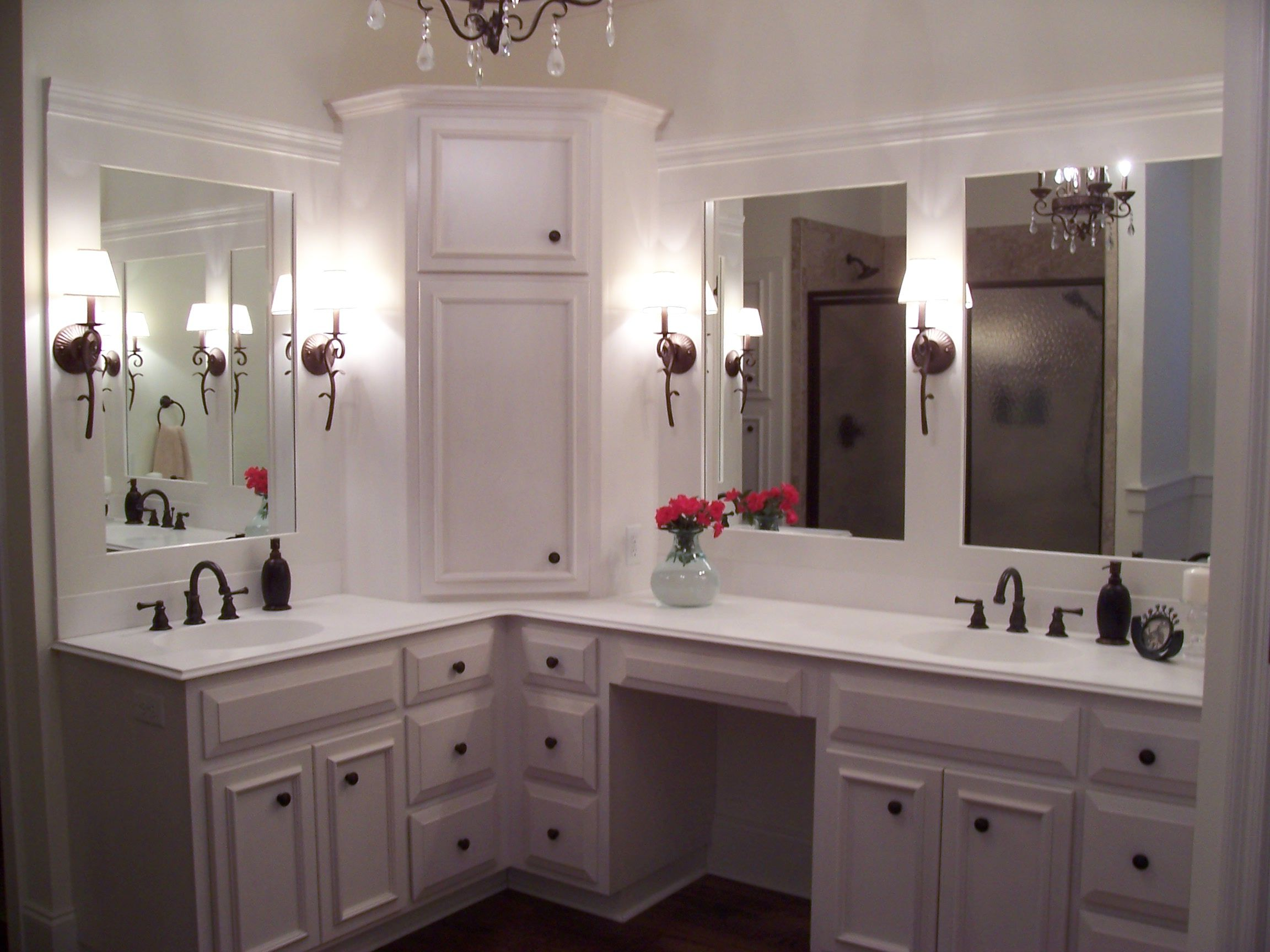 Corner Double Sink Bathroom Vanity Custom Built Home Master Bathroom With Custom White