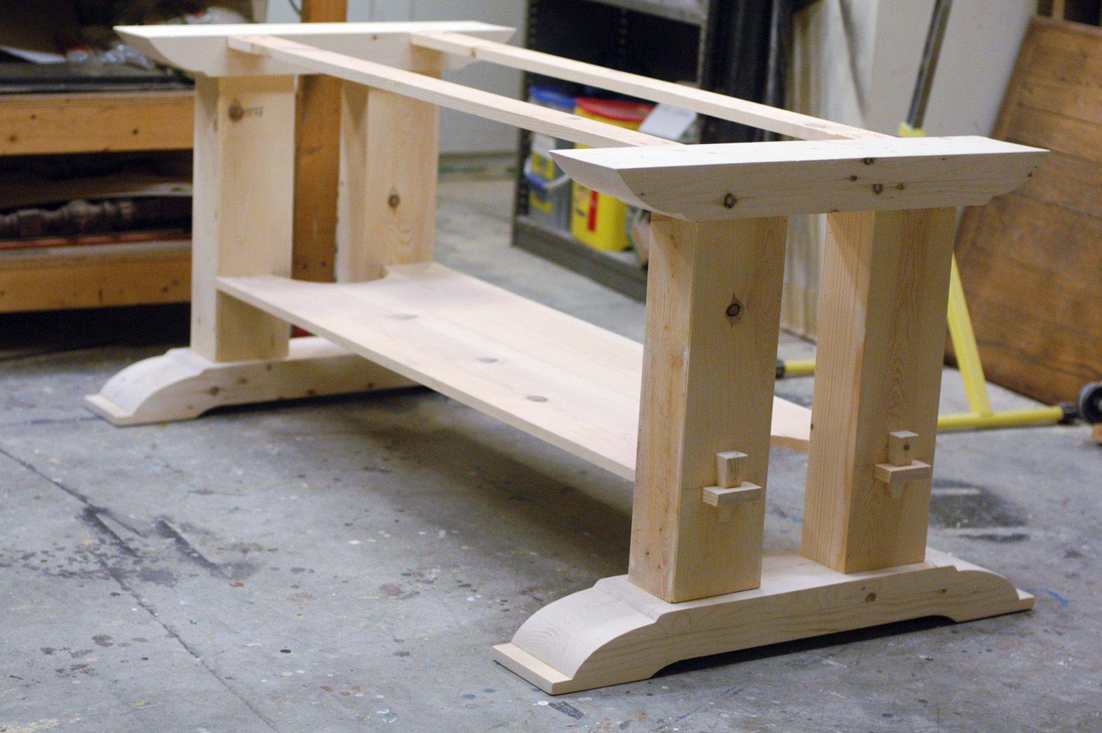 diy kitchen table plans trestle table base plans